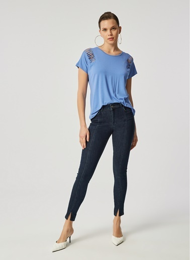 Monamoda Paça Yırtmaçlı Dikişli Likralı Yüksek Bel Skinny Jean Pantolon Lacivert
